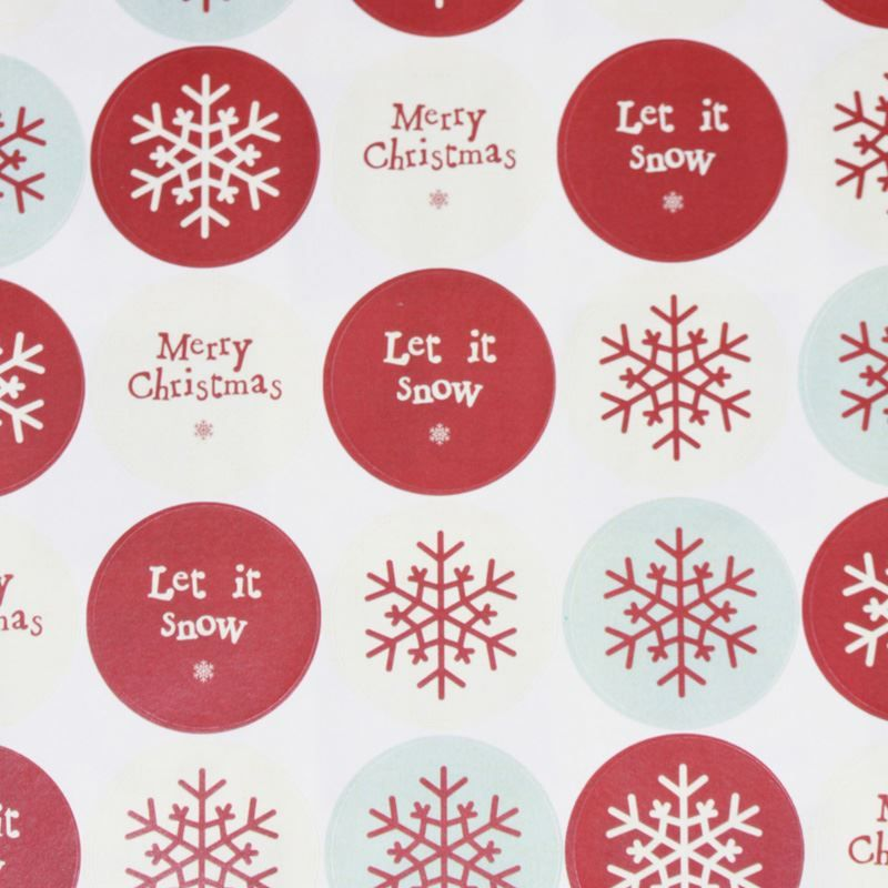 East of india christmas stickers sheet snowflake merry christmas round x 40